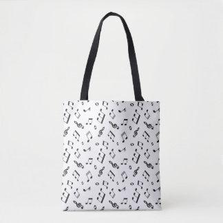 Bolsa Tote Notas musicais preto e branco