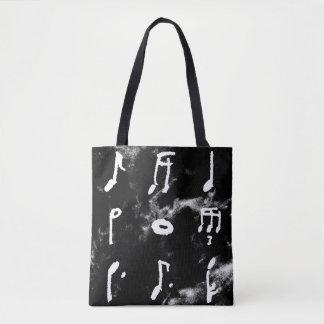 Bolsa Tote Nove notas da música em uma sacola quadrada