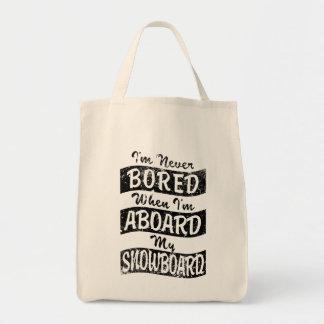 Bolsa Tote Nunca EMBARQUE A BORDO de meu SNOWBOARD (o preto)