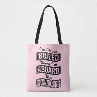 Bolsa Tote Nunca furado A BORDO de meu SNOWBOARD (preto)