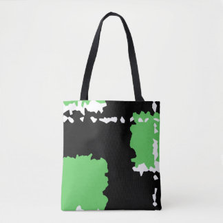 Bolsa Tote o abstrato cristaliza verde preto e o branco do