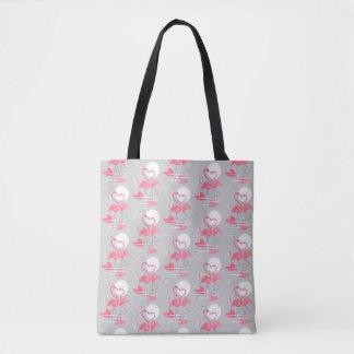 Bolsa Tote O amor do flamingo telhou a sacola