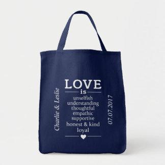 Bolsa Tote O amor é… nomes feitos sob encomenda & sacolas da
