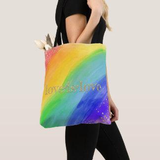 Bolsa Tote O amor é ouro & arco-íris da aguarela da