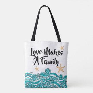 Bolsa Tote O amor faz uma adopção da família - história da