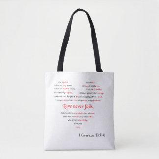 Bolsa Tote O amor nunca falha