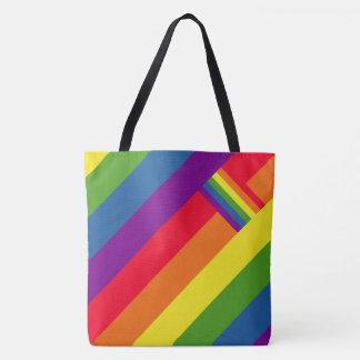 Bolsa Tote O arco-íris colorido listra a celebração com