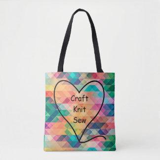 Bolsa Tote O artesanato, malha, Sew o saco