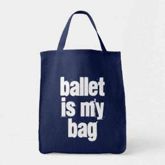 Bolsa Tote O balé é meus marinho do saco & sacola branca