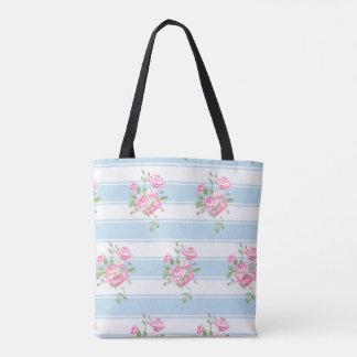 Bolsa Tote O branco clássico floral do vintage listra rosas