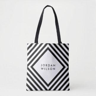 Bolsa Tote O branco minimalista com quadrado preto alinha