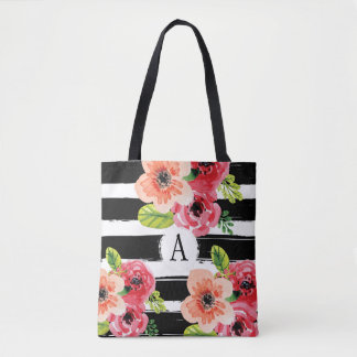 Bolsa Tote O branco preto floral de Monogramed listra a