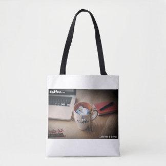 Bolsa Tote O café diz-me um saco do hipster da história