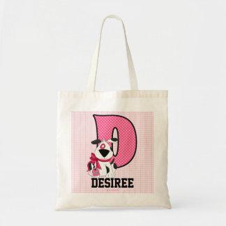 """Bolsa Tote O cão caçoa o rosa Monogrammed da letra """"D"""""""
