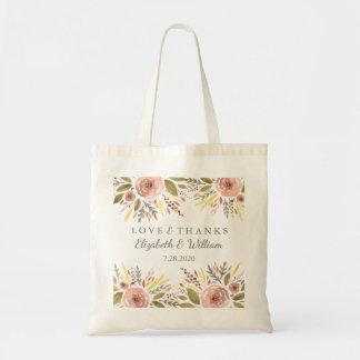 Bolsa Tote O casamento floral rústico cora os rosas