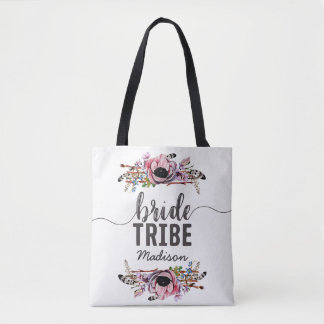 Bolsa Tote O chique de Boho cora monograma floral cor-de-rosa