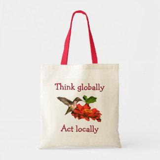 Bolsa Tote O colibri pensa global o vermelho do ato