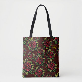 Bolsa Tote O desenhista preto das rosas vermelhas de Borgonha
