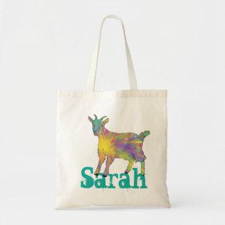 Bolsa Tote O design colorido da cabra da arte de Starburst