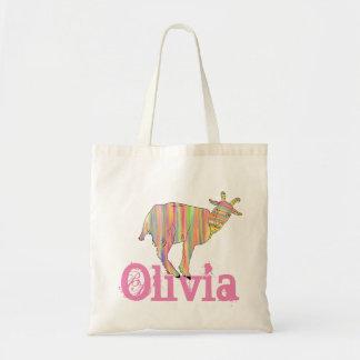 Bolsa Tote O design colorido Stripy da arte da cabra adiciona