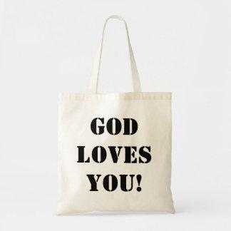 Bolsa Tote O deus ama-o! Sacola religiosa do provérbio