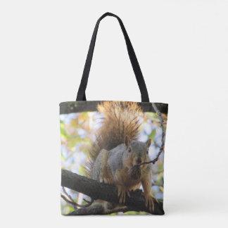 Bolsa Tote O dobro bonito engraçado do esquilo tomou partido