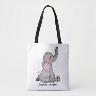 Bolsa Tote O elefante bonito do bebê da aguarela com cora &