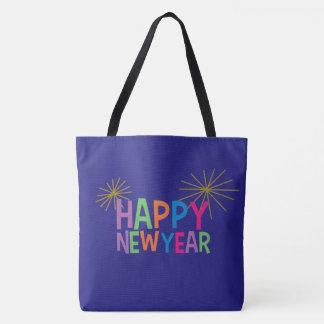 Bolsa Tote O feliz ano novo com fogos-de-artifício
