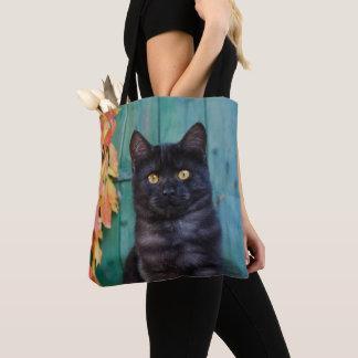 Bolsa Tote O gatinho bonito do gato preto com vermelho sae da
