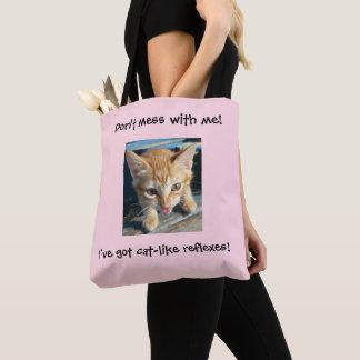 """Bolsa Tote O gato alaranjado cor-de-rosa """"não suja comigo!"""""""