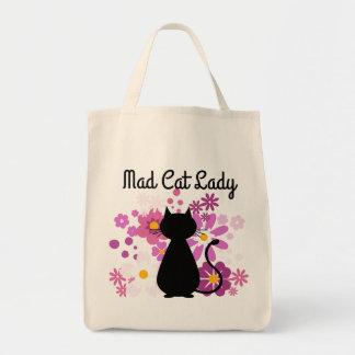 """Bolsa Tote """"O gato da senhora louca do gato"""" no rosa floresce"""