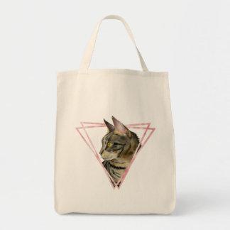 Bolsa Tote O gato de gato malhado com falso cora quadro