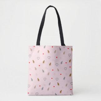 Bolsa Tote O gato feminino bonito e o coração modelam o rosa