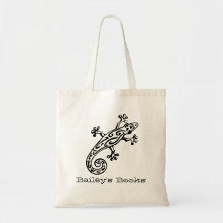 Bolsa Tote O geco nomeou o saco de livro preto & branco da