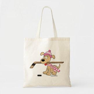 Bolsa Tote O hóquei cor-de-rosa das meninas bonitos do cão do
