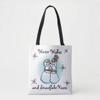 Bolsa Tote O inverno deseja a sacola do boneco de neve