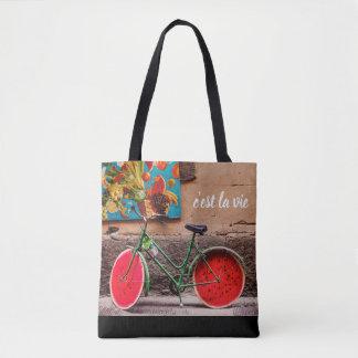 Bolsa Tote O la de C'est vie a sacola francesa da bicicleta