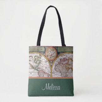 Bolsa Tote O mapa | do vintage personalizou o verde de |