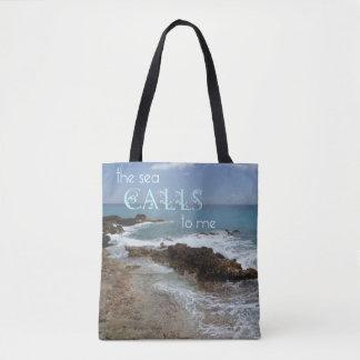 Bolsa Tote O mar chama a sacola