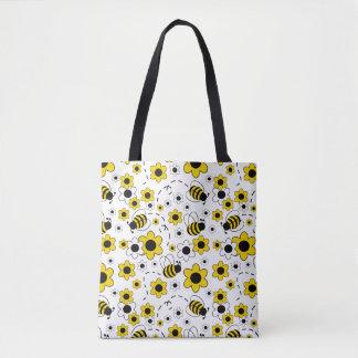 Bolsa Tote O mel Bumble floral amarelo branco do zangão da