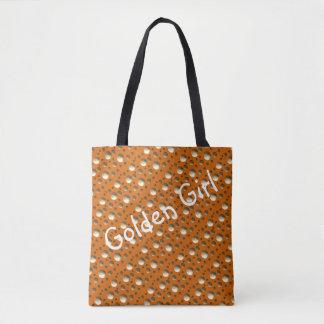 Bolsa Tote O ouro chique pontilha o saco alaranjado para a