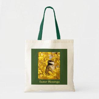 Bolsa Tote O pássaro do Chickadee no amarelo floresce o saco