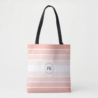 Bolsa Tote O Pastel coral do rosa do pó do monograma listra a