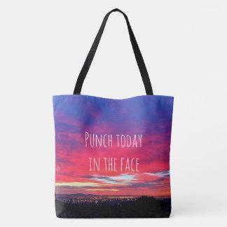 """Bolsa Tote O """"perfurador hoje"""" cita a foto do nascer do sol"""