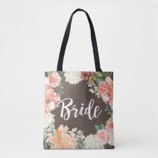 Bolsa Tote O pêssego do casamento cora noiva floral da