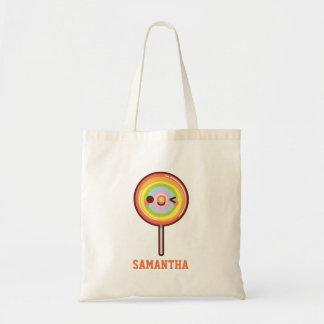 Bolsa Tote O pirulito bonito super do arco-íris do kawaii