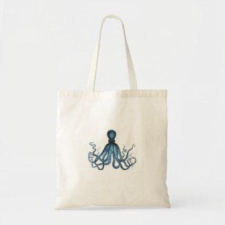 Bolsa Tote O polvo kraken o azul litoral náutico da praia do