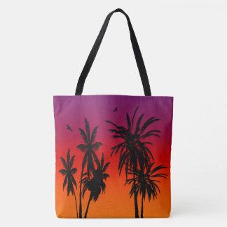 Bolsa Tote O por do sol de Tahiti desvanece-se as árvores do
