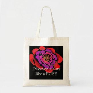 Bolsa Tote O preto da rosa vermelha descobre a sacola das