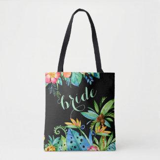 Bolsa Tote O preto floral tropical 2 tomou partido dama de
